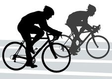 Silhouette cyclist Stock Photo