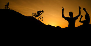 Silhouette of cyclist Royalty Free Stock Photo