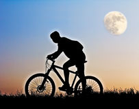 Silhouette of a cyclist Royalty Free Stock Image