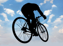 Silhouette of cyclist Royalty Free Stock Image
