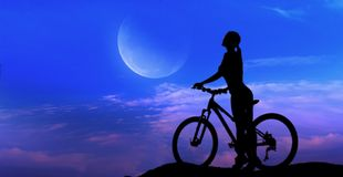 Silhouette of the cyclist Stock Images