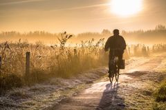 Silhouette of cyclist landscape Royalty Free Stock Photography