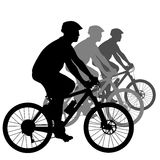 Silhouette of a cyclist male. vector illustration. Royalty Free Stock Images