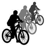 Silhouette of a cyclist male. vector illustration. Stock Photography