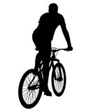 Silhouette of a cyclist male.  vector illustration Stock Images