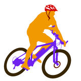 Silhouette of a cyclist male.  vector illustration Royalty Free Stock Image