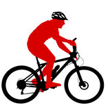 Silhouette of a cyclist male.  vector illustration Royalty Free Stock Photography
