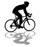 Silhouette of a cyclist male on white background Stock Image