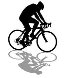 Silhouette of a cyclist male on white background Royalty Free Stock Image