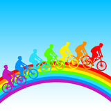 Silhouette of a cyclist a rainbow male. Royalty Free Stock Photography