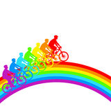 Silhouette of a cyclist a rainbow male. Royalty Free Stock Photos