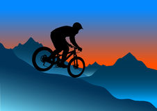 Silhouette of a cyclist riding a mountain bike. Silhouette of a biker descending on a mountain bike on a slope -  illustration Royalty Free Stock Photography