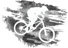 Silhouette of a cyclist riding a mountain bike Royalty Free Stock Images