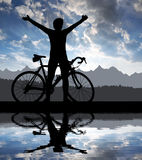 Silhouette of the cyclist Royalty Free Stock Images