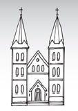 Silhouette d'église Photographie stock libre de droits