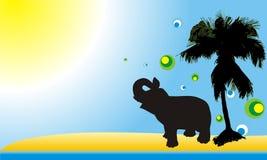 silhouette d'éléphant de carte Photos libres de droits