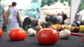 Silhouette d'ail et de personnes de tomate en concurrence populaire de barbecue Tir statique clips vidéos