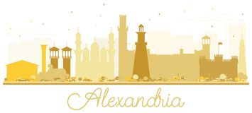 Silhouette d'Alexandria Egypt City Skyline Golden Images libres de droits