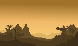Silhouette d'Allosaurus au matin Image libre de droits