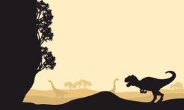 Silhouette d'allosaurus avec le Brachiosaurus Image libre de droits