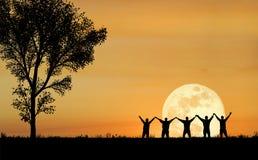 Silhouette d'amitié Photographie stock libre de droits