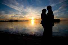 Silhouette d'amour Images libres de droits