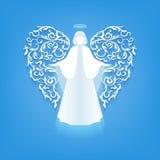 Silhouette d'ange avec des ailes d'ornements illustration de vecteur