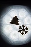Silhouette d'arbre de flocon de neige Photographie stock