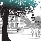 Silhouette d'arbre, scène de rue Photographie stock libre de droits