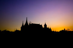 Silhouette d'architecture thaïlandaise Images libres de droits