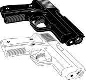 Silhouette d'arme à feu Photographie stock
