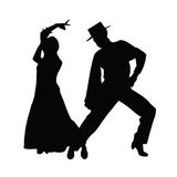 Silhouette d'art de vecteur de danse de couples Photo stock