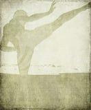 Silhouette d'arts martiaux sur le fond grunge gris Images libres de droits