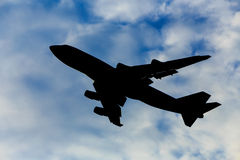 Silhouette d'avion Photo stock