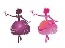 Silhouette d'belles princesses Photographie stock