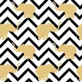 Silhouette d'or d'éléphant sur l'illustration sans couture de fond de modèle noir abstrait de chevron illustration stock