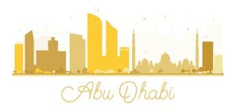 Silhouette d'or d'horizon d'Abu Dhabi City Photos libres de droits