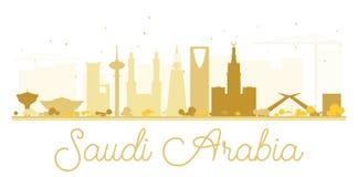 Silhouette d'or d'horizon de l'Arabie Saoudite illustration stock