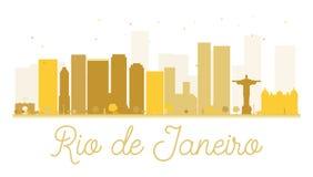 Silhouette d'or d'horizon de Rio de Janeiro City illustration libre de droits