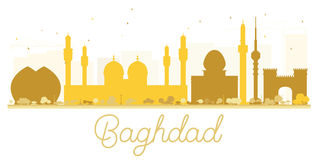 Silhouette d'or d'horizon de ville de Bagdad illustration stock