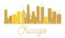 Silhouette d'or d'horizon de ville de Chicago illustration de vecteur