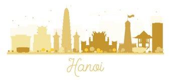 Silhouette d'or d'horizon de ville de Hanoï Photos stock