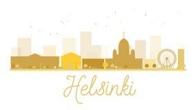 Silhouette d'or d'horizon de ville de Helsinki illustration stock