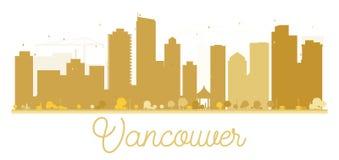 Silhouette d'or d'horizon de ville de Vancouver Images stock