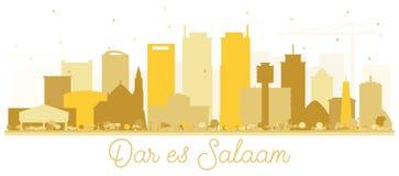 Silhouette d'or de Dar Es Salaam Tanzania Skyline illustration libre de droits