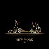 Silhouette d'or de New York sur le fond noir illustration de vecteur