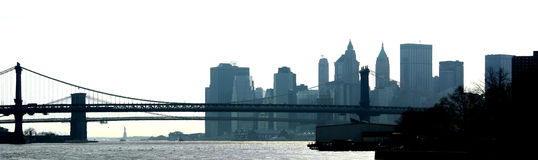 Silhouette d'East River Photos libres de droits