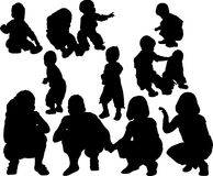Silhouette d'enfant Photographie stock libre de droits