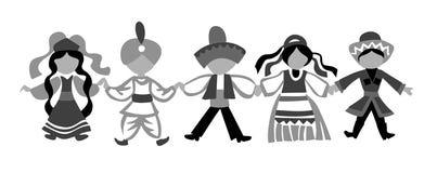 Silhouette d'enfants de danse illustration libre de droits