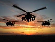 Silhouette d'hélicoptère Images libres de droits